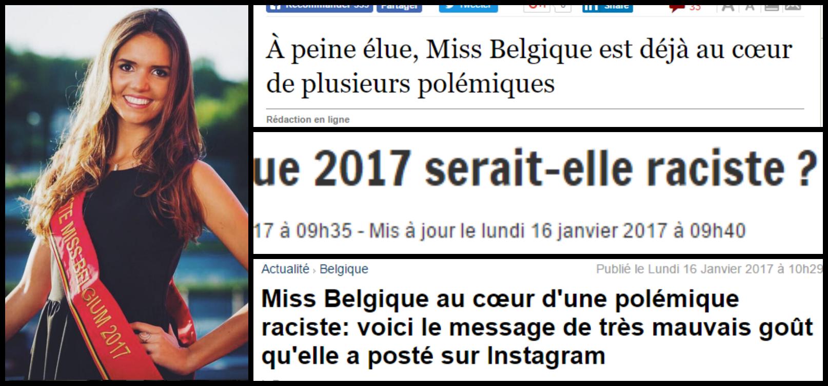 titres de presse miss belgique raciste 2017