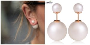 2015 Cc Brinco Trendy Round New Fashion Paragraph Hot Selling Earrings Double Side Shining Pearl(15mm) Stud Big Pearl For Women