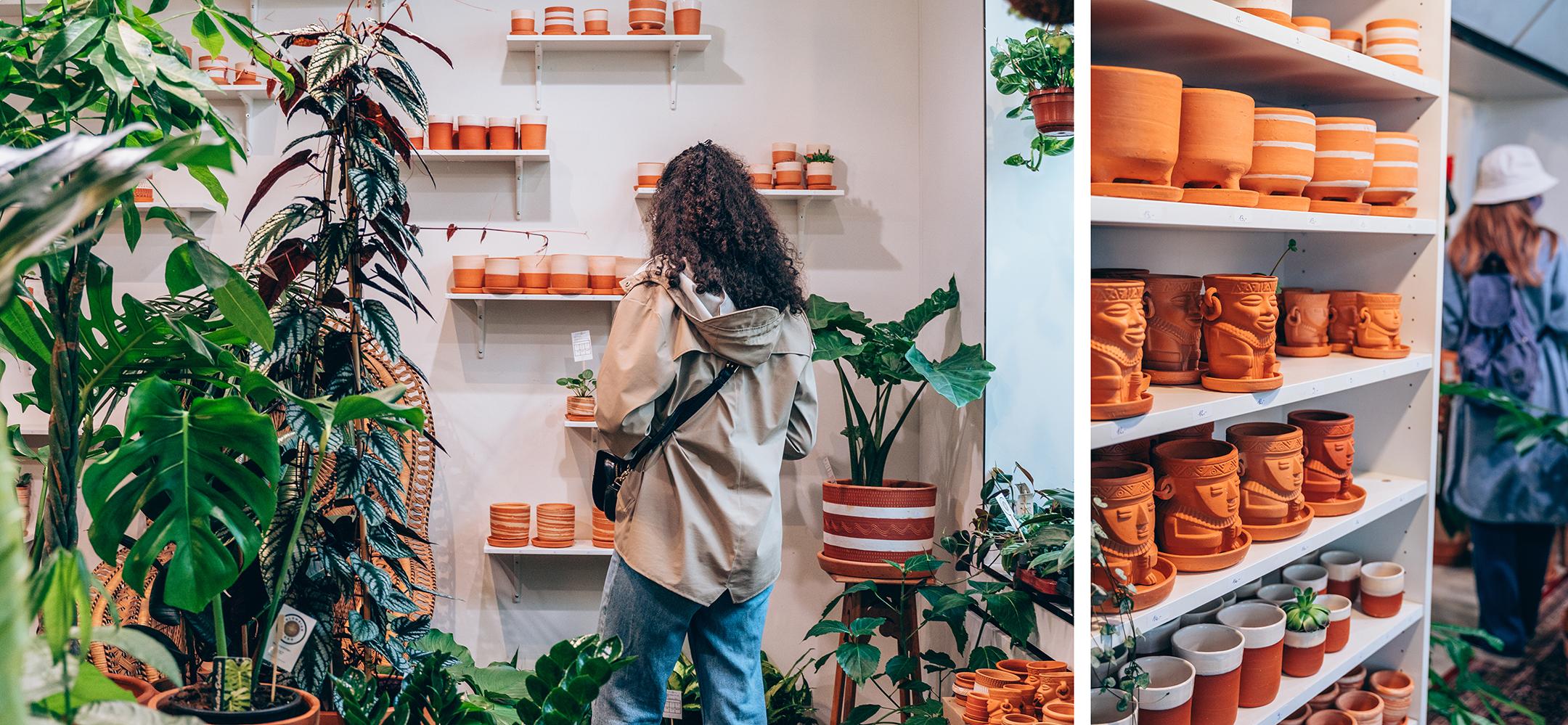Colombian Boho shop à Teskaffee, Gand - pots en terre cuite